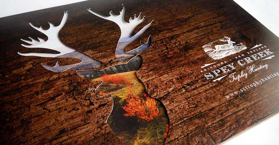 A die cut brochure for a hunting lodge in New Zealand