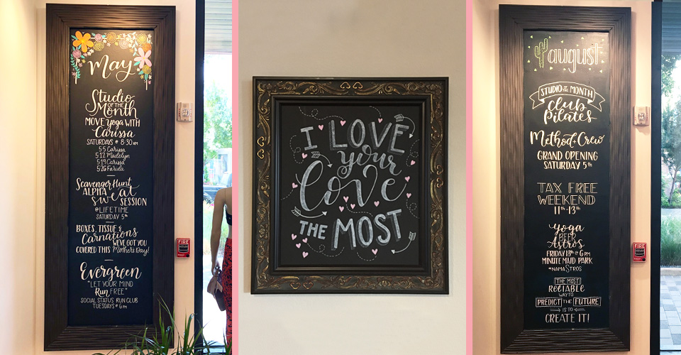 A few of my chalkboards you might have seen around town